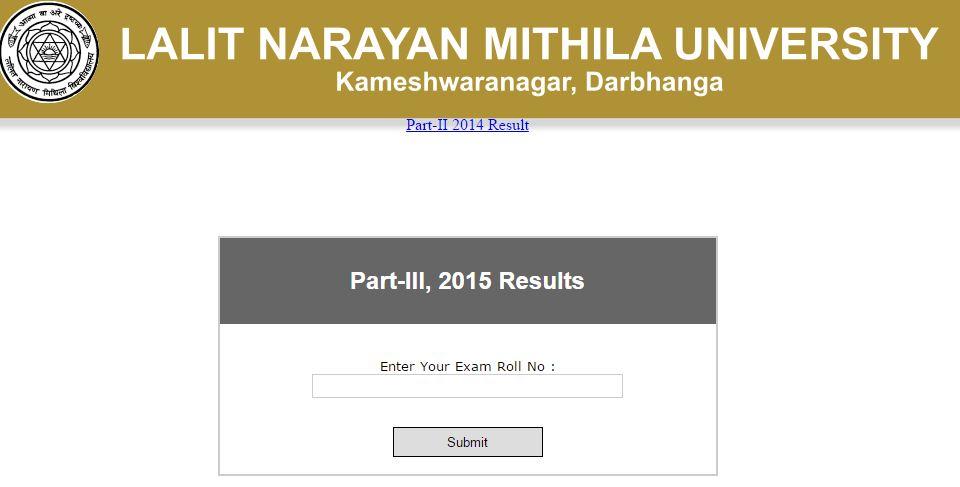 LNMU Darbhanga B.A/B.Sc/B.Com/LLB part 1,2,3 result 2015-16 at www.lnmu.bih.nic.in